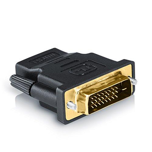 CSL - Adaptador de HDMI a DVI | Conector DVI-D (24+1 macho) sobre puerto HDMI | FULL HD | 1080p | Para videoproyector, PS3 y otros dispositivos
