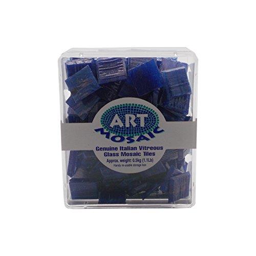 Art Mosaic Frost/Fade Resistant Indoor or Outdoor Mosaic Tiles, Glass, Cobalt/Gold, 0.5 kg