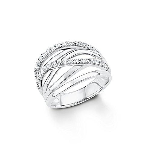S.Oliver Damen-Ring 925 Silber rhodiniert Zirkonia weiß Rundschliff Gr. 56 (17.8) - 541039