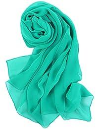 Prettystern - larga uni-color plano sencillo chal de seda pura - 30 colores disponibles