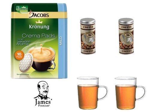 Jacobs Krönung Pads Mild + 2 Paddosen + 2 Kaffebecher mit Henkel