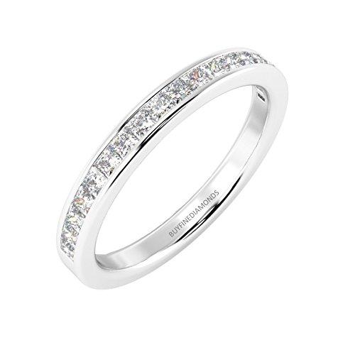 1/2ct diamanti principessa dei canali anello half eternity in oro bianco e oro bianco, 52 (16.6), colore: white, cod. hdr0450-l