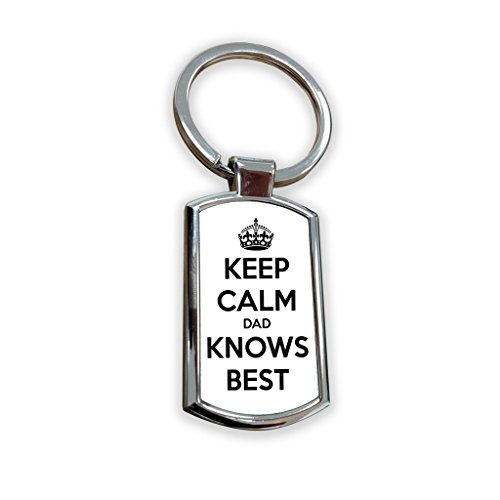 Olive & Maybelle Deluxe Keep Calm Dad knows Best Father Son citazione divertente humour portachiavi in metallo portachiavi portachiavi bag tag Fob