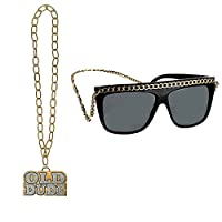 Fancy Dress VIP Express Adults Hip Hop Bling Glasses and Old Dude Gold Rapper Chain Accessory Party Kit