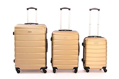 Set de 3 Valises trolly en ABS et polycarbonate avec 4 Roulettes pivotantes 360° degrés divers coloris,( champagne) - A-30