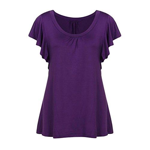 VEMOW Sommer Frauen Damen Mädchen Kurzarm O Neck Plissee Tops Lässige Flowy T-Shirt Tunika T Shirts Bluse T-Shirts Pullover(Lila, EU-40/CN-S)