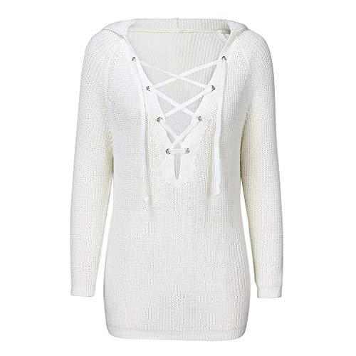 BOLANQ SchnüRen Pullover V-Ausschnitt Einfarbiger Pullover Damenmode Herbst/Winter Langarm Kapuzenpullover Strickpullover Tops(XX-Large,Weiß)