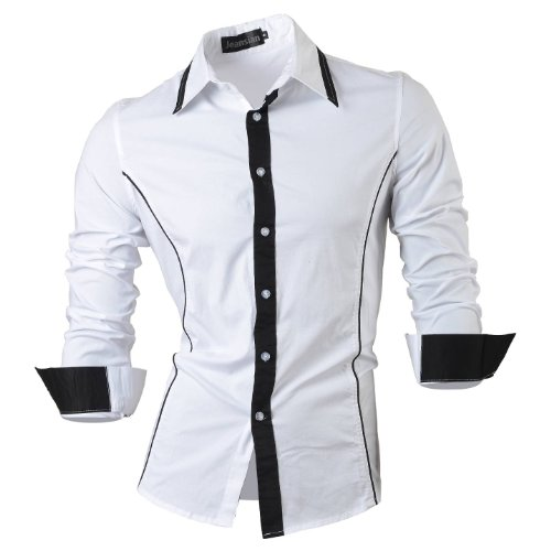 jeansian Homme Chemises Casual Shirt Tops Mode Men Slim Fit 8015 white