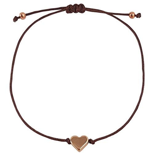 Nilian Damen Armband – Rosegoldenes Herz Armband – Filigranes Frauen Armband - perfekt geeignet als Geschenk – Hochwertiges Textil Armband mit Herzanhänger (braun) (Frauen-herz-tag)