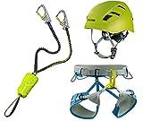 EDELRID Klettersteigset Cable Kit Lite 5.0 + Gurt Jay III Größe M + Kletter-Helm