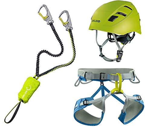 EDELRID Klettersteigset Cable Kit Lite 5.0 + Gurt Jay III Größe L + Kletter-Helm