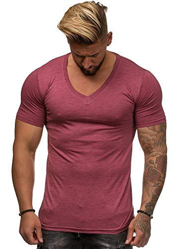 OneRedox Herren Shirt Hoodie Longsleeve Kurzarm Shirt Sweatshirt T-Shirt BS-500 Bordo L