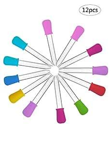 Etui Housse Coques Folio Ultras 12pcs liquide pipettes, Coque en silicone et plastique transfert pipettes Pipette Pointe avec ampoule pour Candy Huile de cuisine enfants Gummy pour–8couleurs