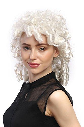 Wig me up - 90901-ZA68 Perücke Damen Karneval Fasching Barock historisch Weiß Korkenzieher Locken Spirallocken Prinzessin Edelfrau