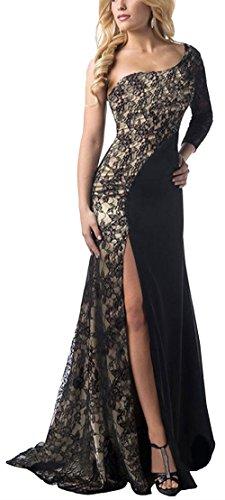 Bestfort Damen Abendkleider Lang Spitzen One Shoulder Kleid Cocktailkleid Ballkleider Evening Dress Kleider für Hochzeitsgäste -