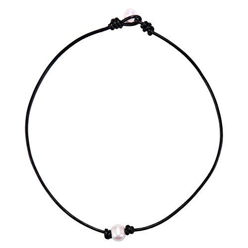 Handmade Cord (Bodya weiß Faux Single Pearl Halskette Collier Perle enden für Damen schwarz Leder Cord Schmuck für Frauen 43,2cm Handmade)