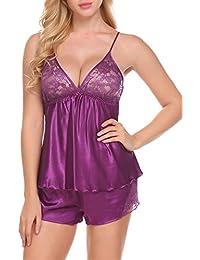 fbf5705ad030f5 ADOME Damen Spitze Set Satin Dessous Sexy Negligee Nachthemd Nachtwäsche  Schlafanzug Zweiteilige mit Shorty Set