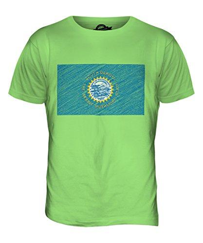 CandyMix Bundesstaat South Dakota Kritzelte Flagge Herren T Shirt Limettengrün