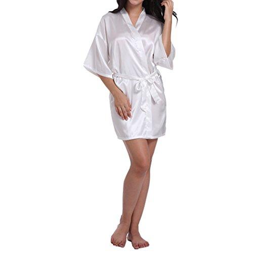 VENIMASEE Damen Pure Farbe Seidig Satin Kimono Robe -