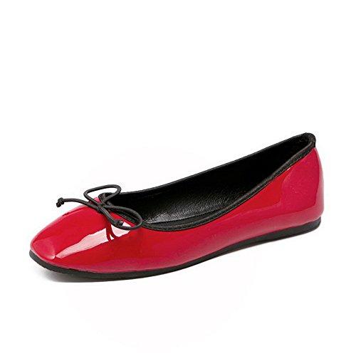 AalarDom Femme Verni Carré Fermeture D'Orteil Tire Chaussures à Plat Rouge