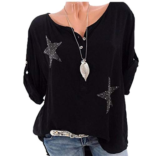 LILICAT Womens Tops T-Shirts Loose Tops Stars Print Tunic Oversized Tee Shirts Short Sleeve & Long Women Button 3/4 Sleeve Five-Pointed Star Hot Drill Plus Size Tops Blouse