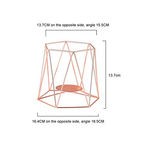 Wrought Iron Candle Holder Geometric Candlestick Candle Holder Romantic Wedding Ornaments Home Decor,Rose Gold L1