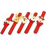 STOBOK 12pcs LED Light Up Snap Bracelets Slap Bands Christmas Party Favors(Santa Claus Snowman Reindeer Bear Assorted Design)