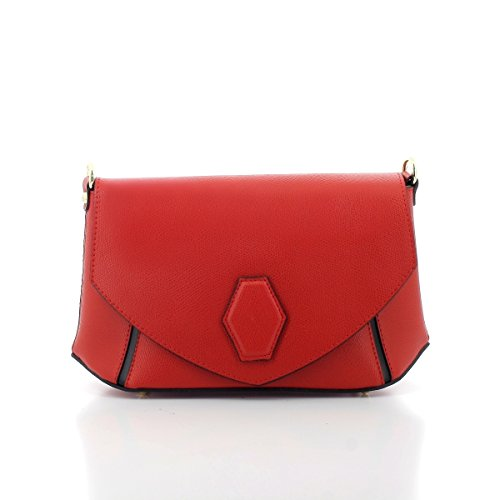 Laura Moretti - Leder zweifarbiger Crossbody / Clutch mit zentralem Sechskant (Patent Clutch Leather White)
