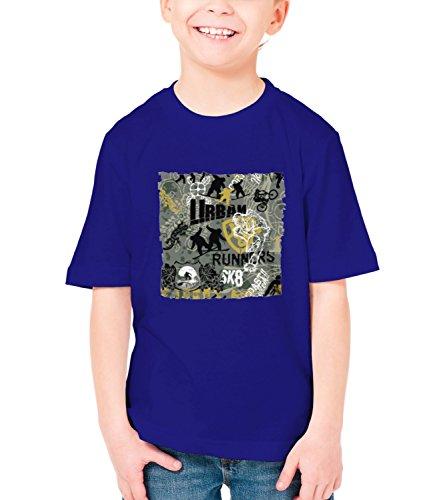 Billion Group | Urban Runners Sk8 | Extreme Sport | Boys Classic Crew Neck T-Shirt Dark Blue X-Large