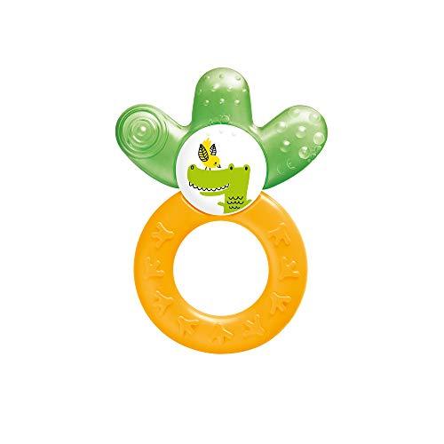 MAM Cooler New, Beißring für Babys fördert Sehsinn & Motorik, Greifling mit Wasserkühlteil erreicht auch die Backenzähne, ab 4+ Monate, gelb/grün