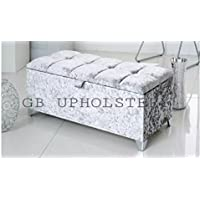 Beautiful Large Silver Crush Velvet Fabric Crystal Diamante Chesterfield style ottoman storage box blanket box Toy Box by DESIRE BED