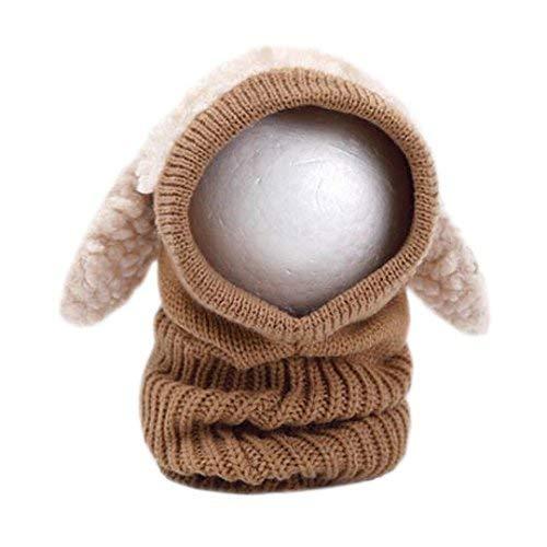 OFKPO Kinder Winter mütze und Schal mit Ohren,Schalmütze aus Wolle(Braun)