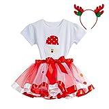 Amphia - (2J-9J Karnevalskostüm für Kinder - Tutu + Stirnband + Oberteil - Baby Mädchen Kid Tutu Weihnachtsfeier Tops + Regenbogen Rock + Deer Stirnband Outfits Set