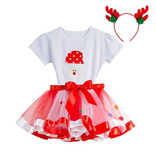 Baby Mädchen Kid Tutu Weihnachtsfeier Tops + Regenbogen Rock + Deer Stirnband Outfits Set