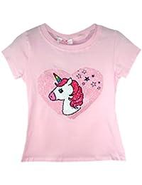 KCL London Girls Kids Emoji Emoticons Unicorn Hearts Stars T-Shirt Tee Top Sequin Age 3-12 Years