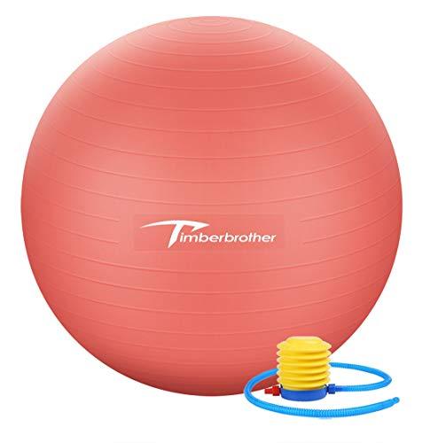Timberbrother Anti-éclatement Ballon d'exercice / Ballon Suisse 55 cm Diamètre avec Pompe pour Yoga, Pilates, Fitness, Thérapie Physique, Sport et maison d'exercice (Rouge)