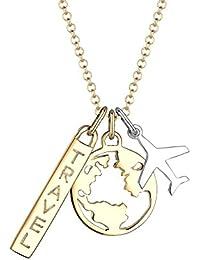 Elli Damen-Kette mit Anhänger Flugzeug Reisen Globus Wanderlust 925 Silber 45 cm