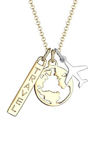 Elli Damen Halskette Kette Anhänger 925 Sterling Silber Flugzeug Multipendants Travel-Schriftzug Wordings Bi Color Tri Weltkugel Sterling Vergoldet Länge 45 cm (Welt-anhänger-halskette)