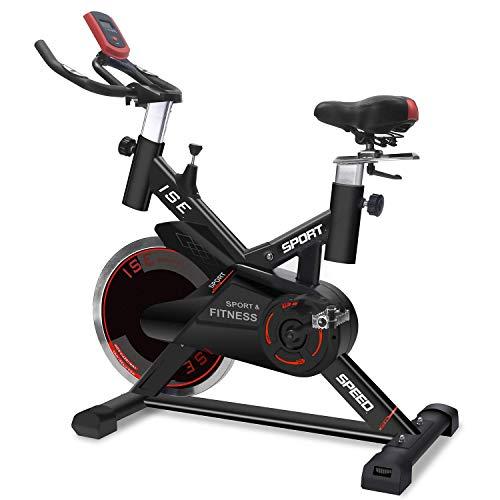 ISE Profi Indoor Cycle Ergometer Heimtrainer mit Pulsmesser,LCD Anzeige,Armauflage,gepolsterte,15kg Schwungrad, Fitnessbike Speedbike mit flüsterleise Riemenantrieb-Fahrrad bis 135Kg