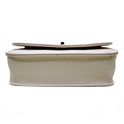 Aisi Womens PU in pelle catena borsa trapuntata Twist Lock Borsa a tracolla Fashion Design Croce Corpo Borsa, Black (nero) - hjb-111 White