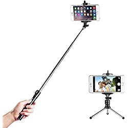 Selfie Stick TaoTronics con Bluetooth Wireless Remote Shutter Aggiustabile Treppiede + Monopiede per iPhone 4 5 e 6 e 6Plus, Samsung Galaxy & Note, LG, HTC e altri Smartphone con sistema Android e IOS