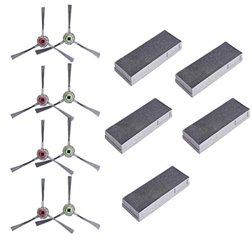 Hengzi Zubehörsatz Für ECOVACS 901 dt 85 m80 Roboter-Staubsauger-Filterbürste (4 Paar Seitenbürsten+ 5 sets of filters)