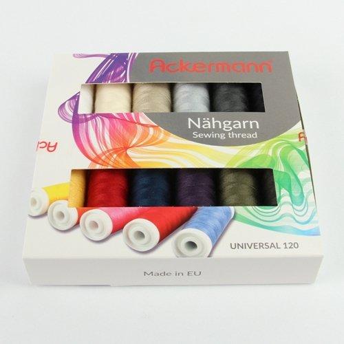 Nähgarn (12 Farben x 200m) ACKERMANN® Universal Nähgarn Farben-Mix in 12 Farben in Stärke 120, Nähgarn-Set, Markengarn