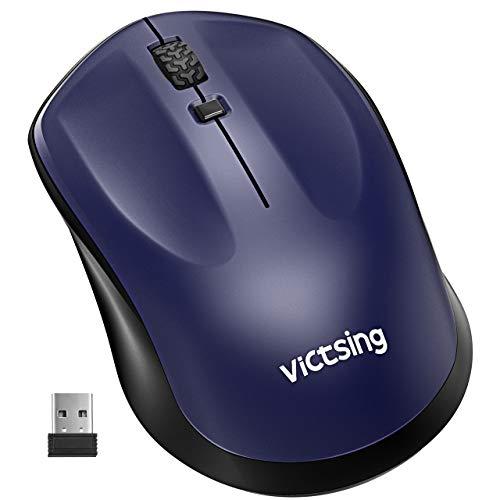 VicTsing Laptop Maus Kabellos, 2.4G PC Maus Optische Mäuse, ON-Off-Schalter Funkmaus, 3 Einstellbare DPI Wireless Mouse, Energiesparend Schlafmodus für PC, Notebook, Office, Home-Blau