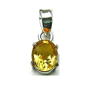 Malabar Gems 925 Silver Lab Certified 7 Carat Yellow Topaz Pendant Locket for Men and Women
