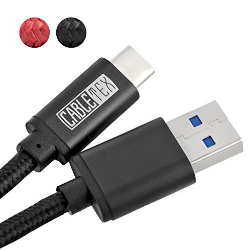 USB C Kabel auf USB 3.0 Typ A 1,5 Meter Ladekabel Nylon Textilkabel Datenkabel für USB 3.1 Computer und Smartphones wie Samsung Galaxy S8, S8+, S9, S9+, Huawei P20, OnePlus 2, OP 3, HTC 10 - SCHWARZ