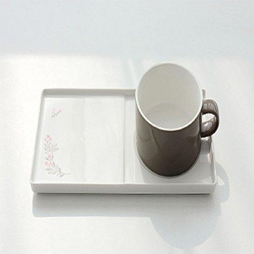 SSUEIM Blooming Coffee & Tea Mug with Saucer, Ceramic Tea Mug Tray (Grey) -