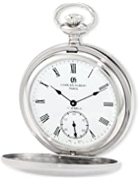 Charles-Hubert 2C Paris Charles-Hubert, Paris 3908-WR Premium Collection Stainless Steel Satin Finish Double Hunter Case Mechanical Pocket Watch