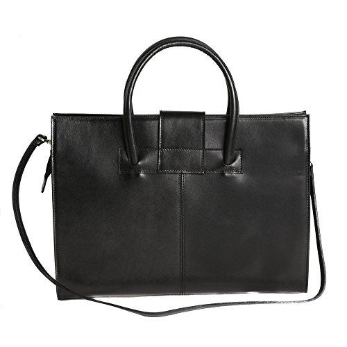Aktentasche in italienischem Leder, Cartel, Frau Geschäfts HandBag Made in Italy 40x30x10 cm Schwarz