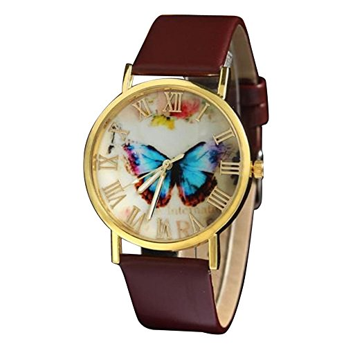 Coolster Damen Schmetterlings-Kasten-Uhr-Leder-Band-Handgelenk-Armband (Braun)